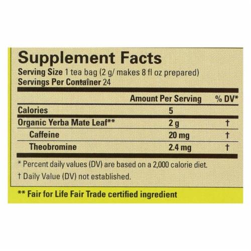 Ecoteas Organic Yerba Mate Unsmoked Green Energy Tea Bags - Case of 6 - 24 Bags Perspective: back