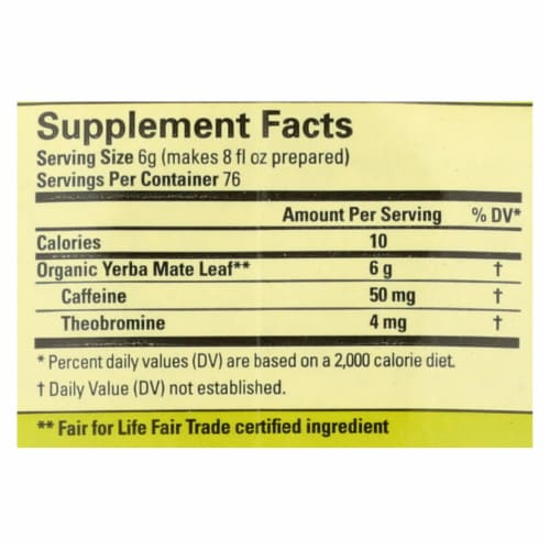 Ecoteas Organic Loose Yerba Mate - Traditional Cut - Case of 6 - 1 lb. Perspective: back