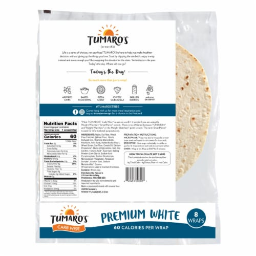Tumaro'S 8-inch Premium White Carb Wise Wraps - Case of 6 - 8 CT Perspective: back