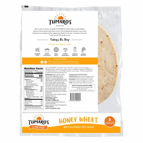 Tumaro'S 8-inch Honey Wheat Carb Wise Wraps - Case of 6 - 8 CT Perspective: back