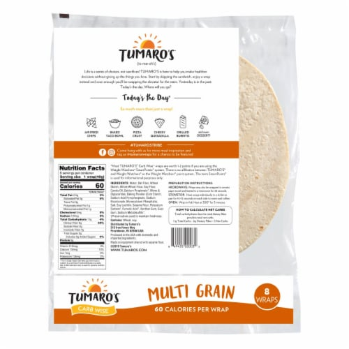 Tumaro'S 8-inch Multi Grain Carb Wise Wraps - Case of 6 - 8 CT Perspective: back
