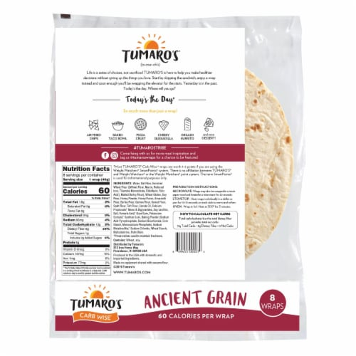 Tumaro'S 8-inch Ancient Grain Carb Wise Wraps - Case of 6 - 8 CT Perspective: back