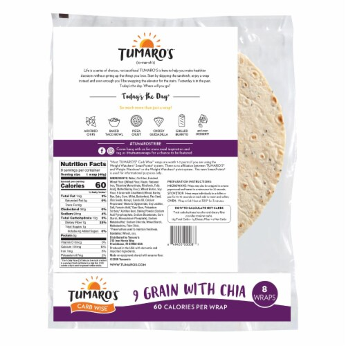 Tumaro'S 8-inch 9 Grains and Seeds Carb Wise Wraps - Case of 6 - 8 CT Perspective: back