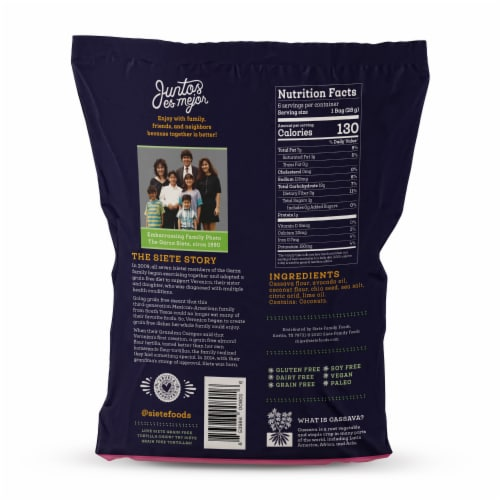 Siete Grain Free Tortilla Chips Familia Pack Lime Perspective: back