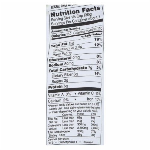 Sunshine Nut Company Cashews - Salted - Roasted - Case of 6 - 7 oz Perspective: back