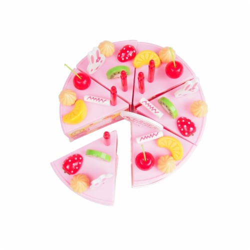 Birthday Cake Play Food Set Pink 75 Pieces Plastic Kitchen Cutting Toy Pretend Play Perspective: back