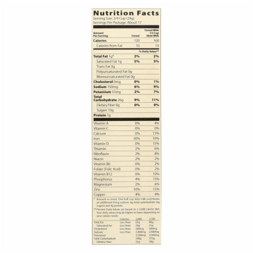 Moms Best Naturals Cereal - Crispy Cocoa Rice - 17.5 oz - case of 14 Perspective: back
