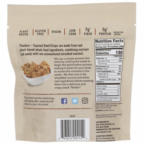 Doctor in the Kitchen Flackers Organic Quinoa Toasted Seed Crisps Perspective: back