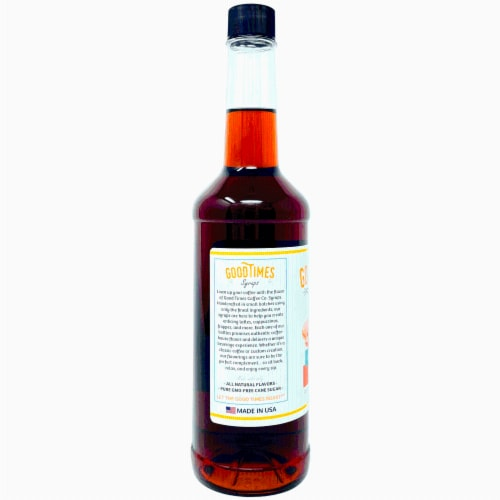 Caramel Syrup, All Natural, Vegan, Gluten-Free, Non-GMO Cane Sugar, 25.4 Fl Oz Bottle, 6 Pack Perspective: back