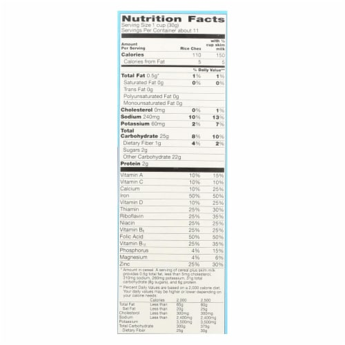 General Mills - Cereal Gluten Free Rice Chex - Case of 10 - 12 OZ Perspective: back
