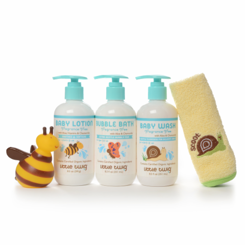 Little Twig- GIFTBAG Fragrance Free 3pk Baby Wash, Bubble Bath & Baby Lotion w/Toy Perspective: back
