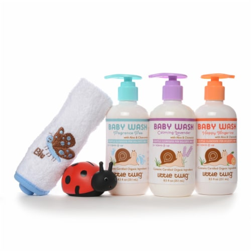 Little Twig- Baby Wash Essentials 3 8.5 fl.oz . w/washcloth Fragrance Free/Lavender/Tangerine Perspective: back