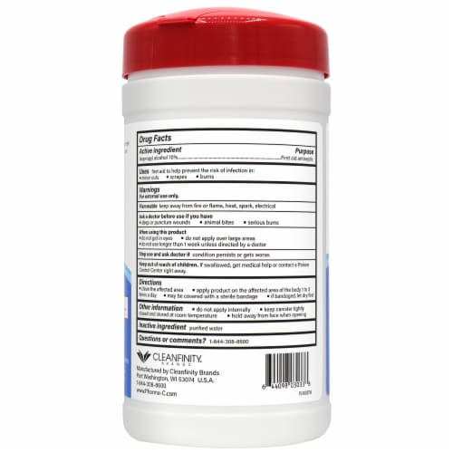 Pharma-C-Wipes 70% Isopropyl Alcohol Wipes - 40 CT (Case of 6) Perspective: back