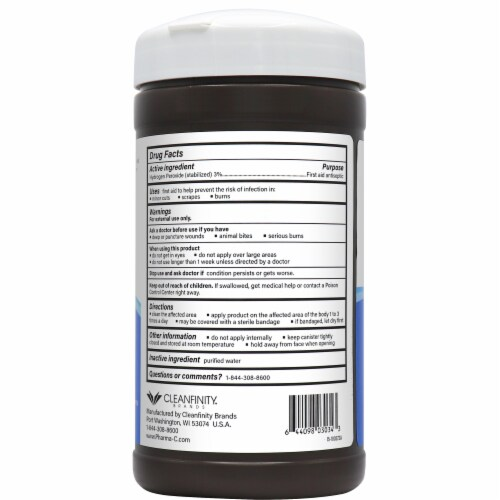 Pharma-C-Wipes 3% Hydrogen Peroxide Wipes - 40 ct (Case of 6) Perspective: back