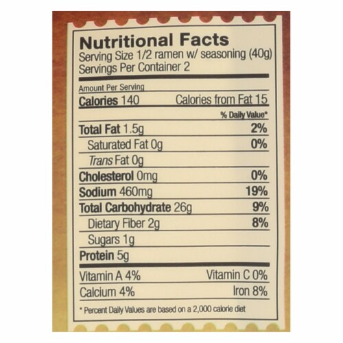 Lotus Foods Ramen - Organic - Millet and Brown Rice - with Miso Soup - 2.8 oz - case of 10 Perspective: back
