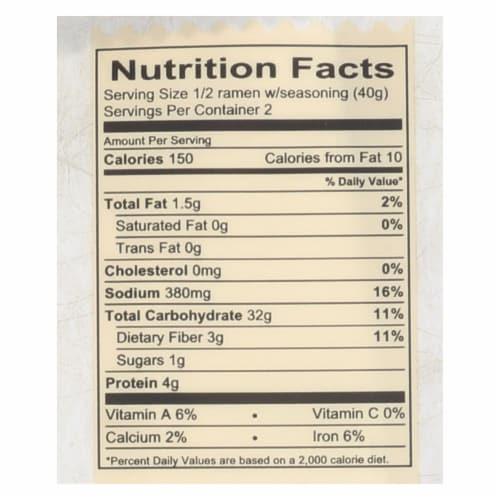 Lotus Foods Buckwheat Mushroom Brown Rice Ramen with Vegetable Soup - Case of 10 - 2.8 oz. Perspective: back