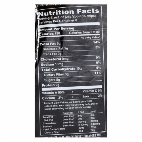 Terra Chips Sweet Potato Chips - Sweets and Beets - Case of 12 - 6 oz. Perspective: back