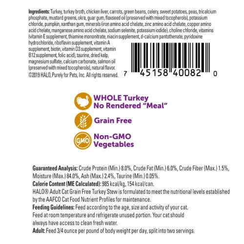 Halo Grain Free Natural Turkey Stew Wet Cat Food Perspective: back