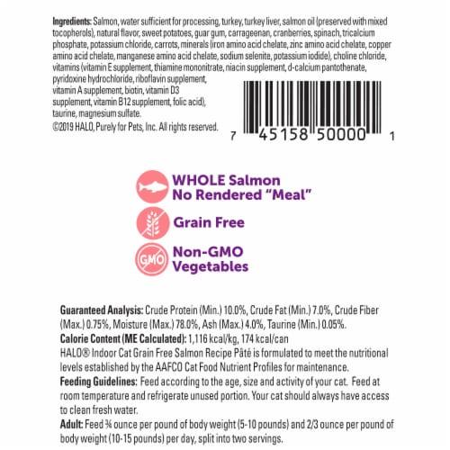 HALO Grain Free Indoor Salmon Recipe Natural Wet Cat Food Perspective: back