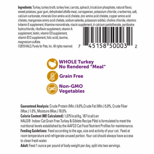 HALO Grain Free Natural Indoor Turkey & Giblets Recipe Wet Cat Food Perspective: back