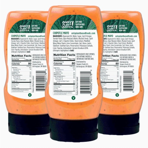 Only Plant Based Vegan Chipotle Mayonnaise, Squeeze Bottle, 11 Fl Oz (Pack of 3) Perspective: back
