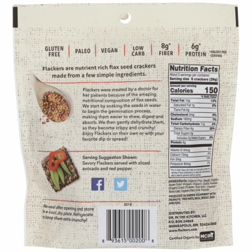 Flackers Savory Organic Flax Seed Crackers Perspective: back