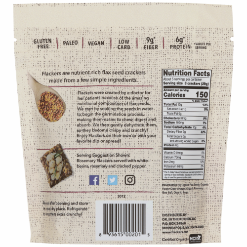 Flackers Rosemary Organic Flax Seed Crackers Perspective: back