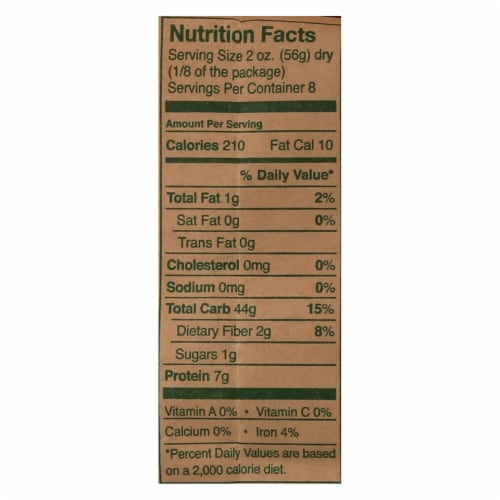 Montebello Organic Pasta - Fusilli - Case of 12 - 1 lb. Perspective: back