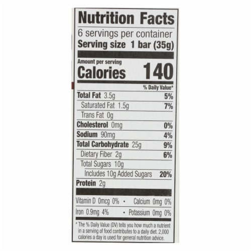 Cascadian Farm Granola Bar - Organic - Chewy - Chocolate Chip - 7.4 oz - case of 12 Perspective: back