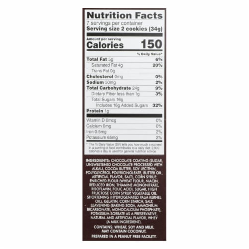 Dare Whippet Pure Chocolate - Original - Case of 12 - 8.8 oz. Perspective: back