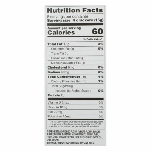 Dare Water Crackers - Toasted Sesame - Case of 12 - 4.4 oz. Perspective: back