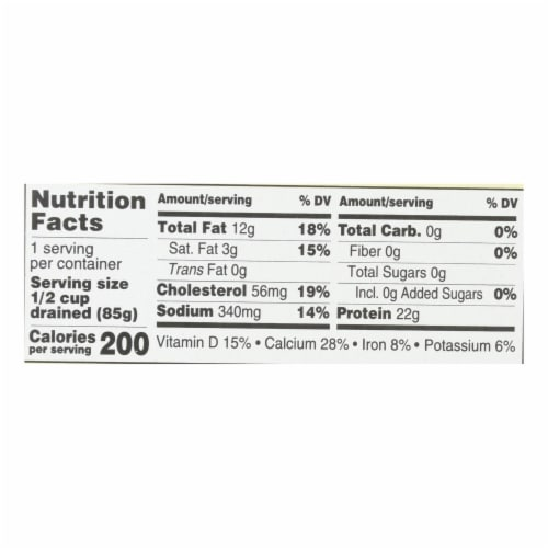 Season Brand Sardines in Pure Olive Oil - Salt Added - Case of 12 - 4.375 oz. Perspective: back