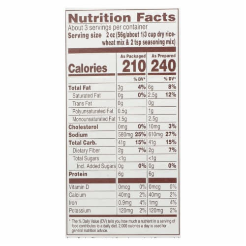 Near East Rice Pilaf Mix - Toasted Almond - Case of 12 - 6.6 oz. Perspective: back