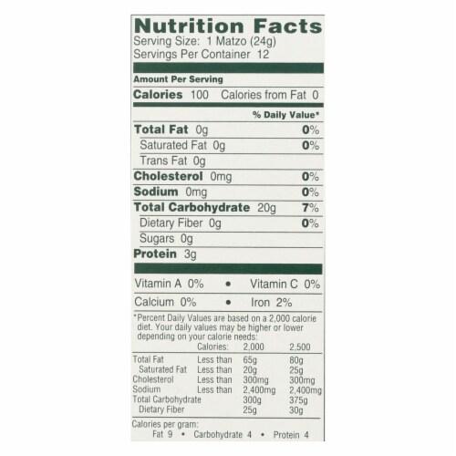 Manischewitz - Thin Matzo Tea Crackers - Case of 12 - 10 oz. Perspective: back