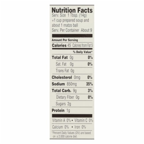 Manischewitz - Matzo Ball and Soup Mix - Low Sodium - Case of 12 - 4.5 oz Perspective: back