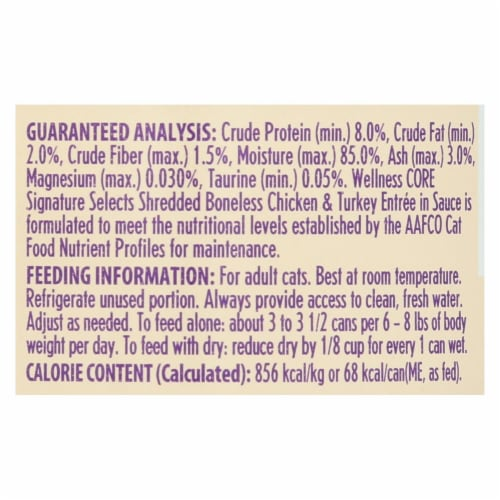 Wellness Pet Products Cat - Can - Turkey - Chicken - Signature Selects - Case of 12 - 2.8 oz Perspective: back