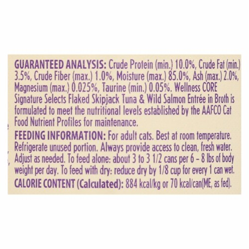 Wellness-Signature Selects Cat Food-Skipjack Tuna Wild Salmon Entrée in Broth-12Case-2.8oz Perspective: back