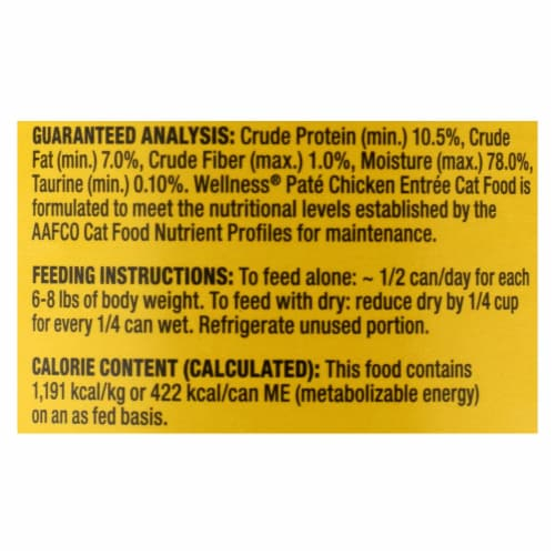 Wellness Pet Products Cat Food - Chicken Recipe - Case of 12 - 12.5 oz. Perspective: back