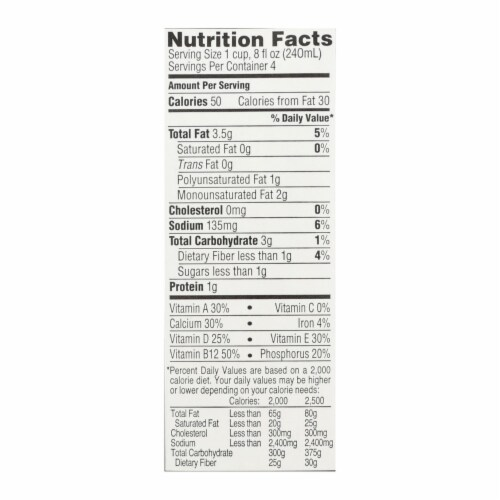 Imagine Foods Almond Dream Almond Drink - Unsweetened - Case of 12 - 32 Fl oz. Perspective: back