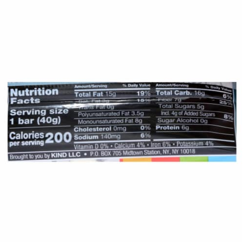 Kind Fruit and Nut Bars - Dark Chocolate Nuts and Sea Salt - 1.4 oz - Case of 12 Perspective: back