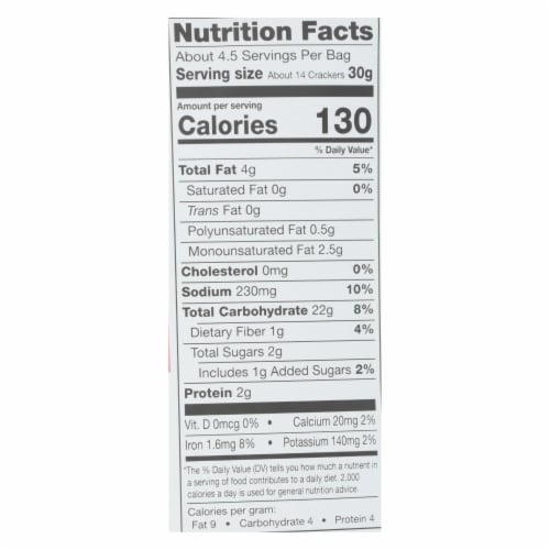Miltons - Cracker Veg Fire Roasted Gluten Free - Case of 12 - 4.5 OZ Perspective: back