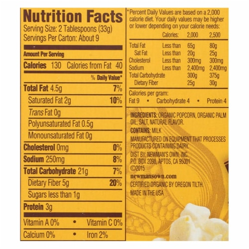 Newman's Own Organics Butter - Popcorn - Case of 12 - 3.3 oz. Perspective: back