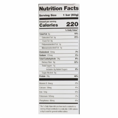 One Chocolate Chip Cookie Dough Flavored Protein Bars  - Case of 12 - 60 GRM Perspective: back
