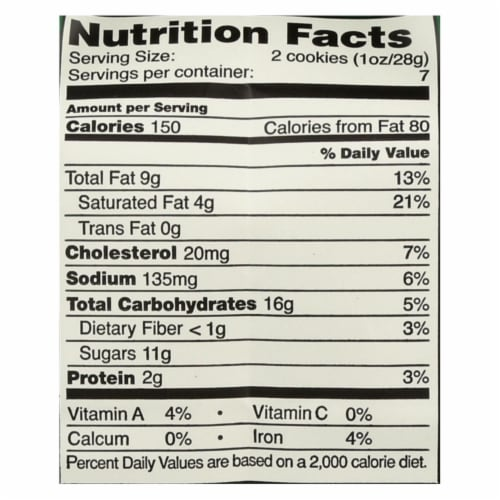 Tate's Bake Shop Chocolate Chip Walnut Cookies - Case of 12 - 7 oz. Perspective: back
