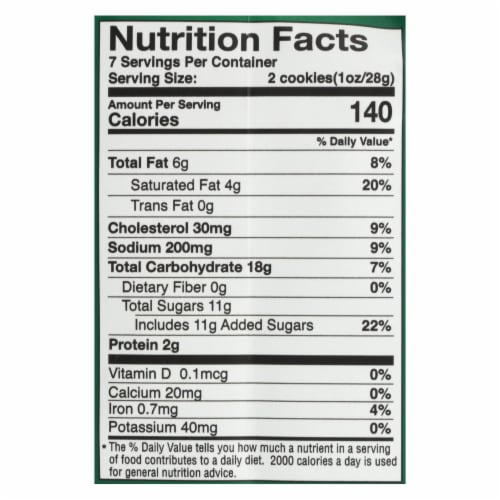 Tate's Bake Shop Butter Crunch Cookies Butter Crunch - Case of 12 - 7 OZ Perspective: back