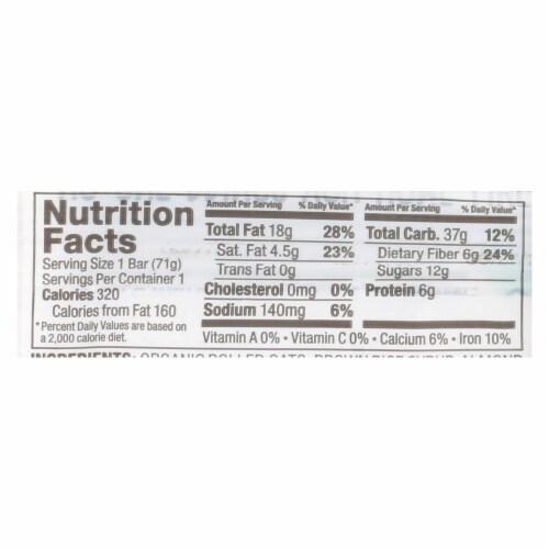 Bobo's Oat Bars - Oat Bar - Coconut Almond Butter Filled - Case of 12 - 2.5 oz Perspective: back