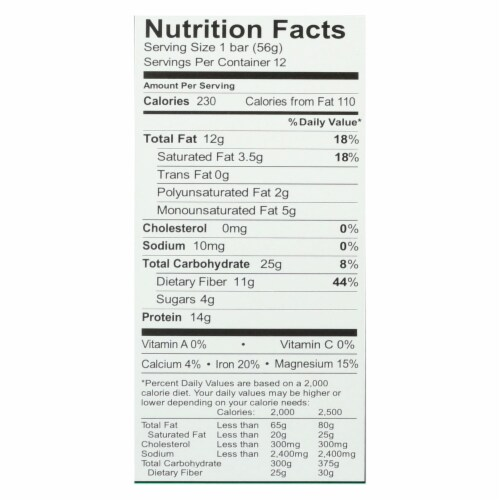 Aloha Bars - Protein Bar Og2 Chocolate Mint - Case of 12 - 1.9 oz Perspective: back