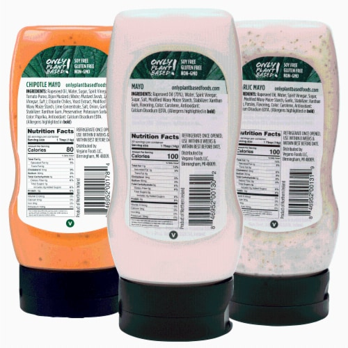 Only Plant Based Vegan Mayonnaise Variety Pack, Chipotle, Garlic, Original, Squeeze Bottles Perspective: back