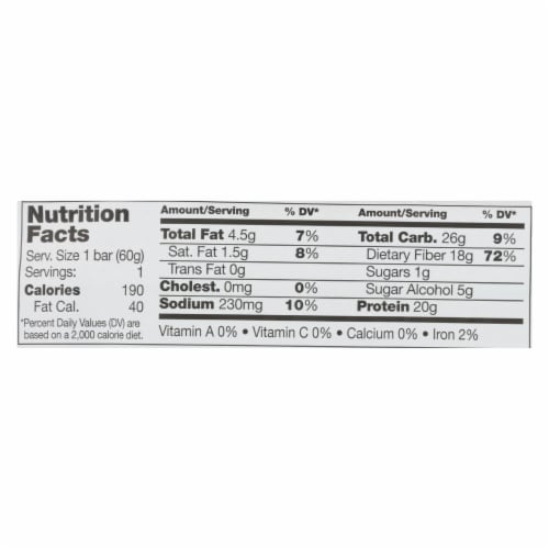 No Cow Bar Chunky Peanut Butter Bar - Case of 12 - 2.12 OZ Perspective: back