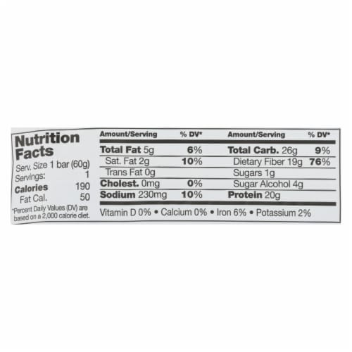 No Cow Bar Protein Bar - Case of 12 - 2.12 OZ Perspective: back